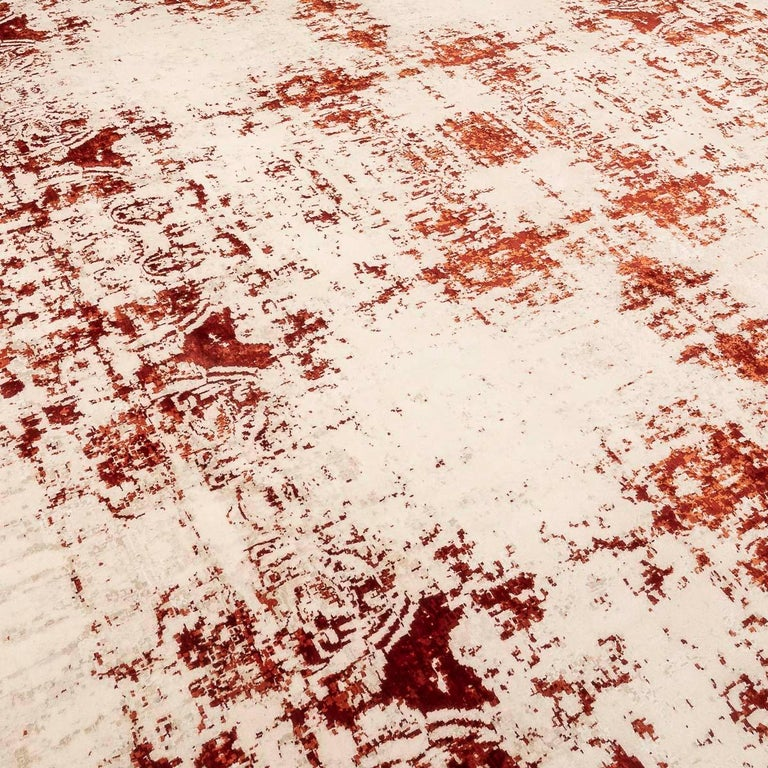 Contemporary Abstract Rug on Red and White Colors In Excellent Condition For Sale In MADRID, ES