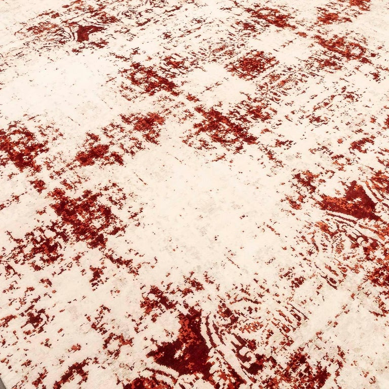 Wool Contemporary Abstract Rug on Red and White Colors For Sale