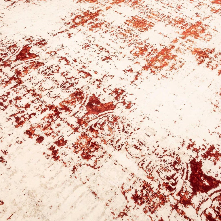 Contemporary Abstract Rug on Red and White Colors For Sale 3