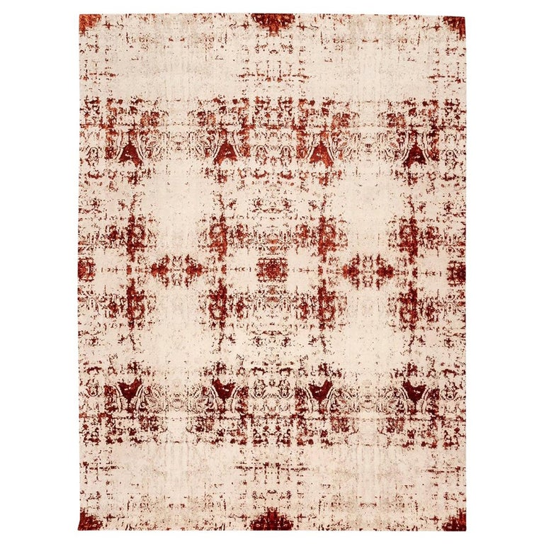 Contemporary Abstract Rug on Red and White Colors For Sale