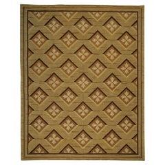 Contemporary Abusson Geometric Warm Beige & Brown Wool Matthew P Smyth Rug