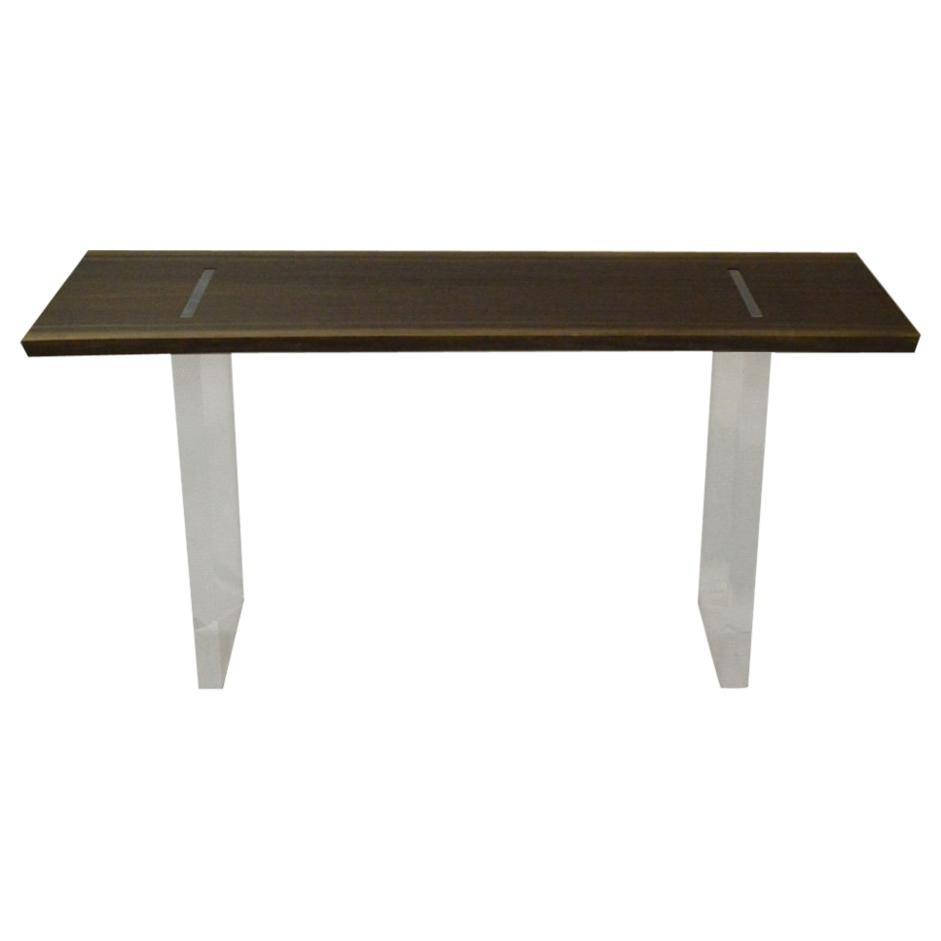 Contemporary Acrylic and Walnut Console Table by Scott Gordon