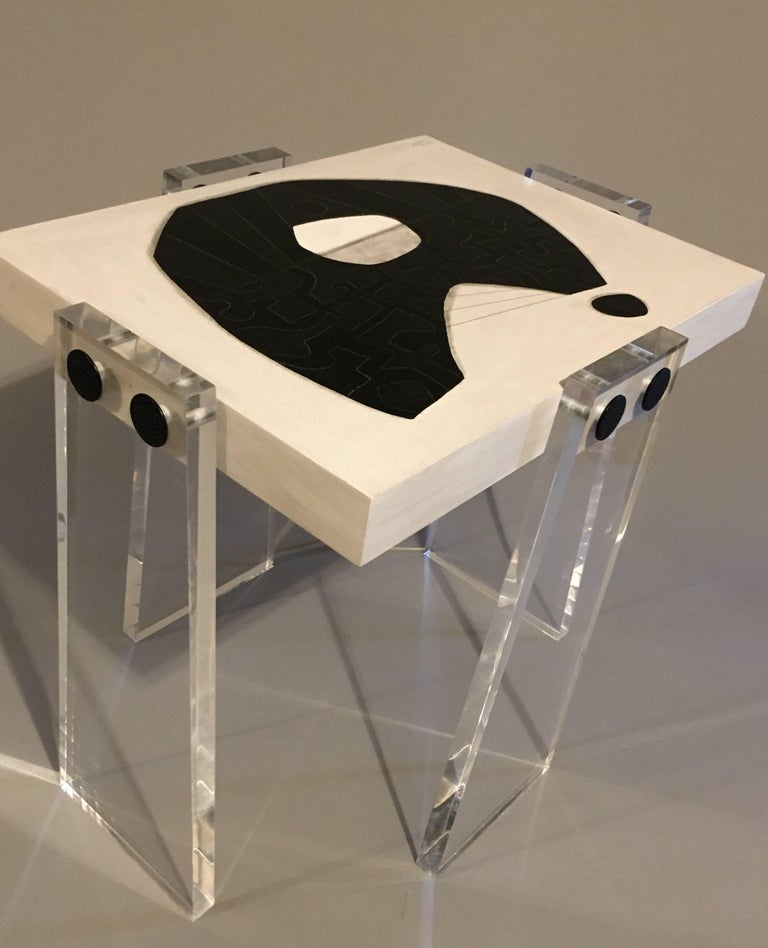 A beautifully handcrafted acrylic table with original signed artwork created by known artist Steve McElroy. Top measures 12 x 16 inches and legs are 25 inches tall. Legs may be requested custom any height at no extra charge. Shipped with optional 1