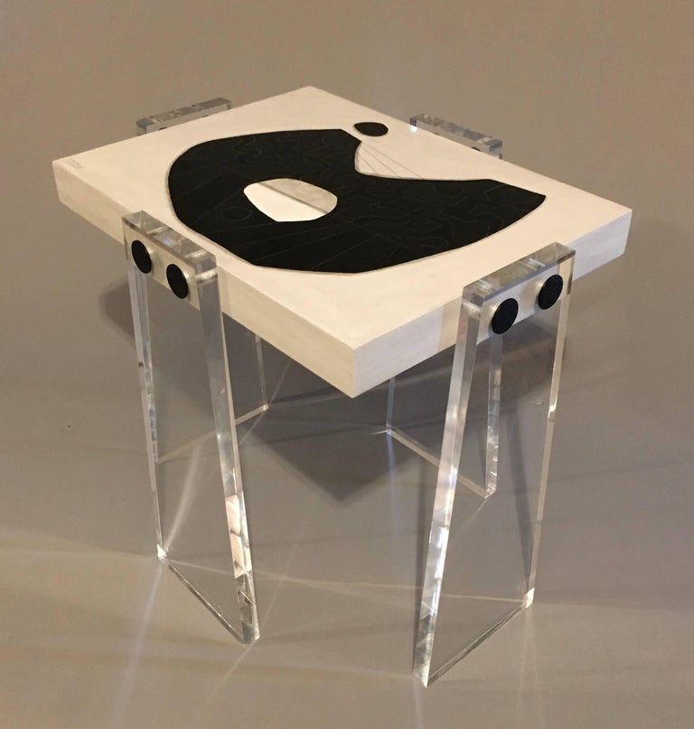 American Original/Handmade/Signed Acrylic Gallery Table by Known Artist Steve McElroy For Sale