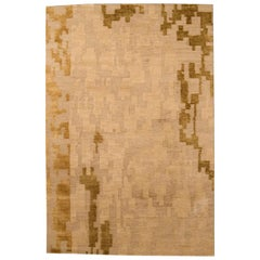 Contemporary 'AD4' Golden Beige and Brown Handmade Rug by Arthur Dunnam