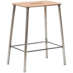 Contemporary Adam Stool in Leather with Raw Steel Frame H50