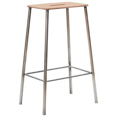 Contemporary Adam Stool in Leather with Raw Steel Frame H65