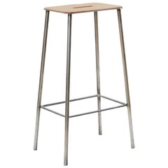 Contemporary Adam Stool in Leather with Raw Steel Frame H76