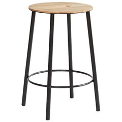 Contemporary Adam Stool R031 in Oak and Black Frame H50