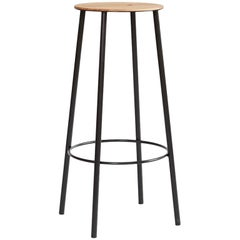 Contemporary Adam Stool R031 in Oak and Black Frame H76