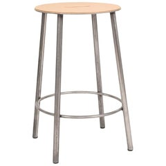 Contemporary Adam Stool R031 Natural Leather / Raw Steel H50