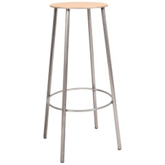 Contemporary Adam Stool R031  Natural Leather / Raw Steel H76