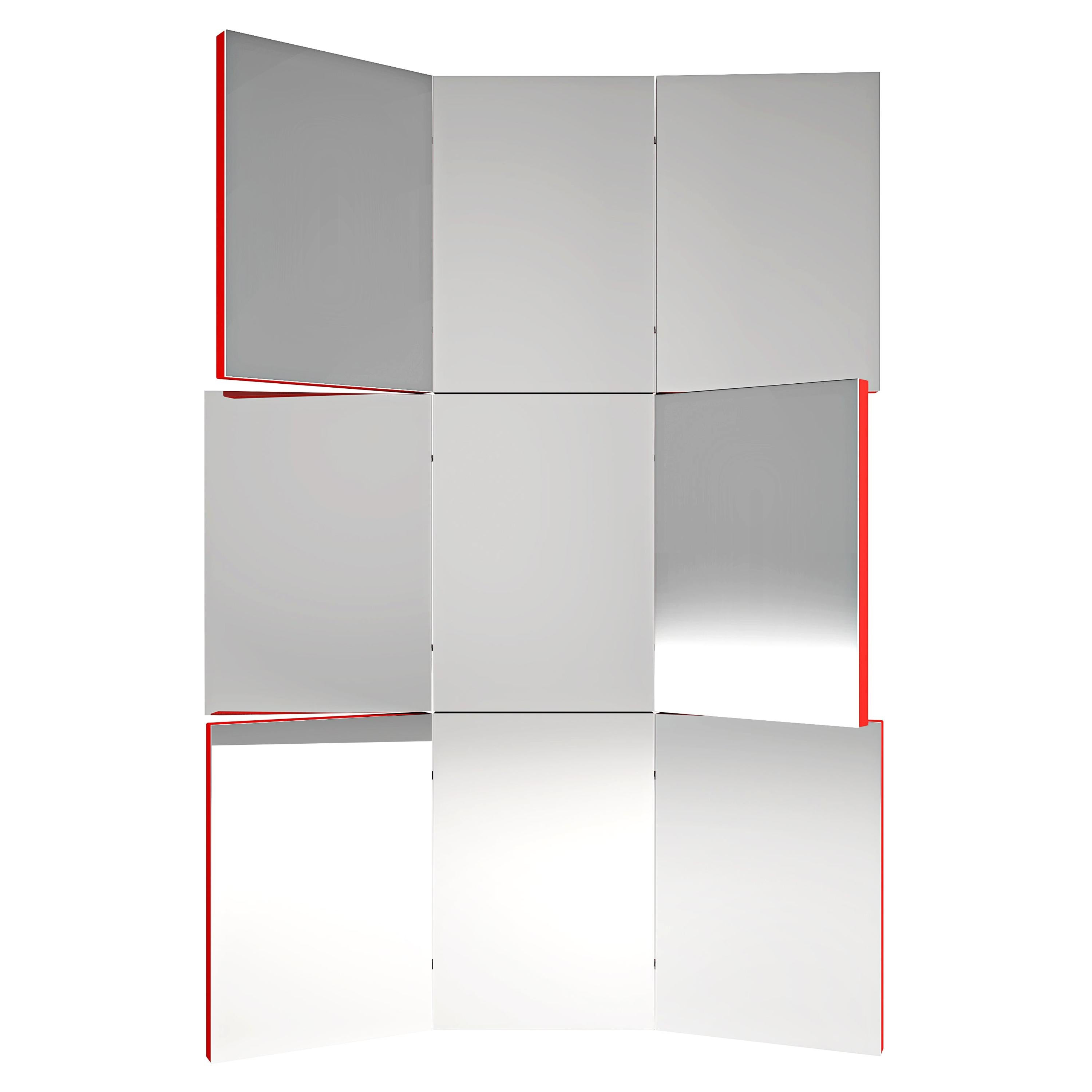 Contemporary Adjustable Wall Mirror Lacquered Wood Steel Metal