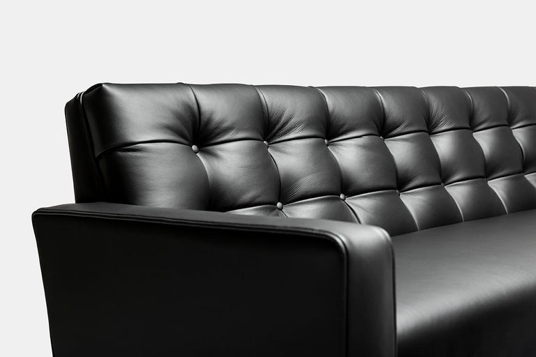 Contemporary Adoni Obsidian Sofa in 100% British Black Leather and Natural  Wax