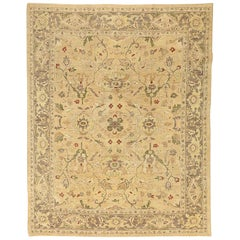 Contemporary Afghan Tabriz Rug with Green and Red Flower Motifs on Beige Field