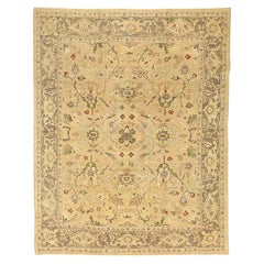 Contemporary Afghan Tabriz Style Rug with Green and Red Flower Motifs