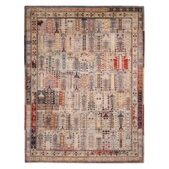 Contemporary Afghani Tribal Beige and Golden-Brown Multi-Color Wool Rug