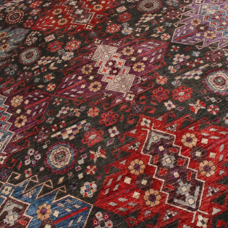 Contemporary Afghani Tribal Burgundy and Blue Wool Rug In New Condition For Sale In New York, NY