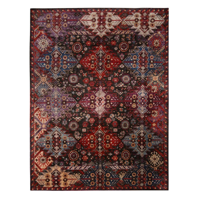 Contemporary Afghani Tribal Burgundy and Blue Wool Rug For Sale