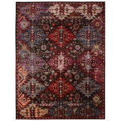 Contemporary Afghani Tribal Burgundy and Blue Wool Rug