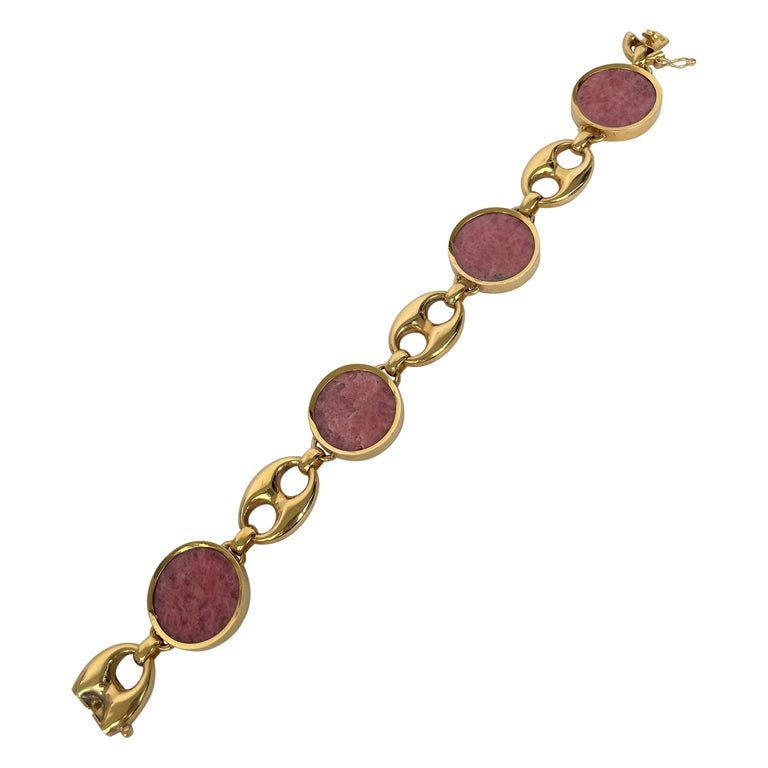 """Contemporary Agate and Yellow Gold """"Marina"""" Link Bracelet For Sale"""