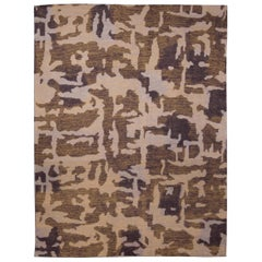 Contemporary AK2 Brown and Beige Hand Knotted Wool Rug