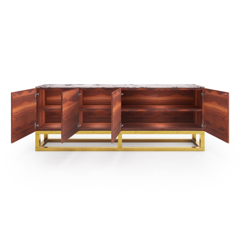 Modern Contemporary Akureyri Credenza in Walnut, Marble, and Brass For Sale