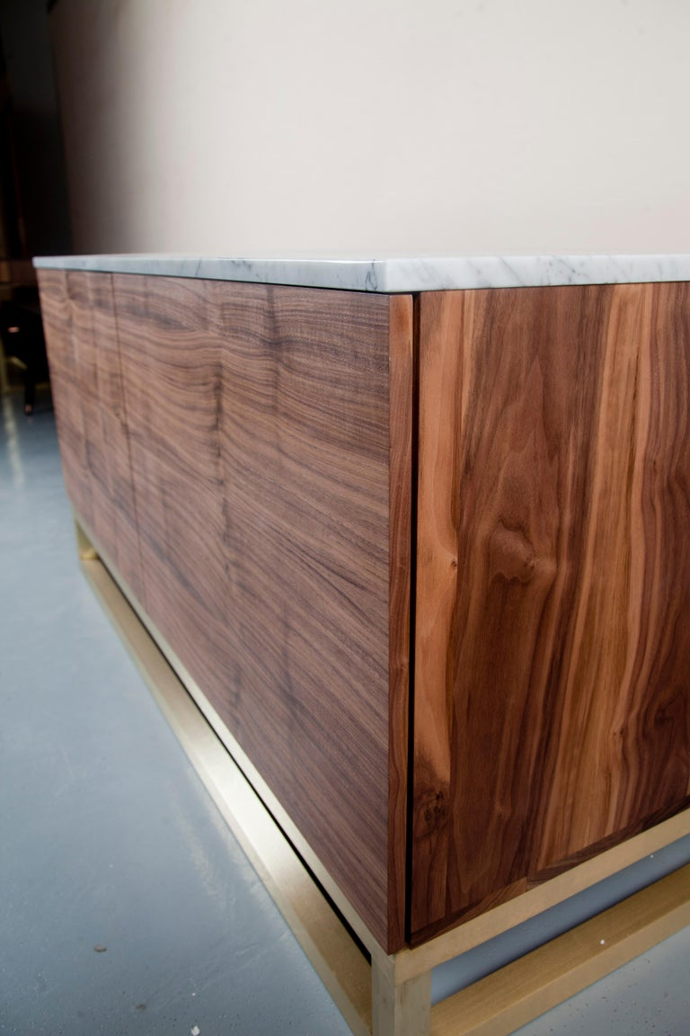 Latvian Contemporary Akureyri Credenza in Walnut, Marble, and Brass For Sale