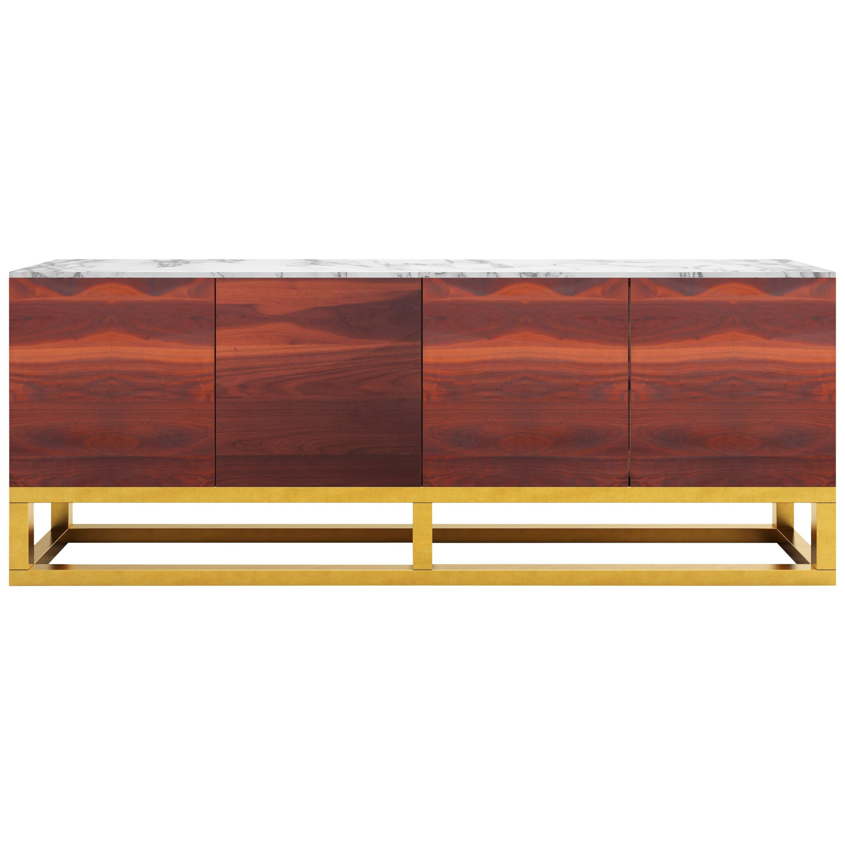 Contemporary Akureyri Credenza in Walnut, Marble, and Brass