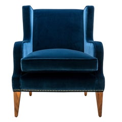 Contemporary Alae Lounge Chair in Velvet with Decorative Nails and Walnut Legs