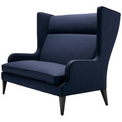 Contemporary Alae Wing Sofa in Arthur's Seat Navy Wool with Black Walnut Legs