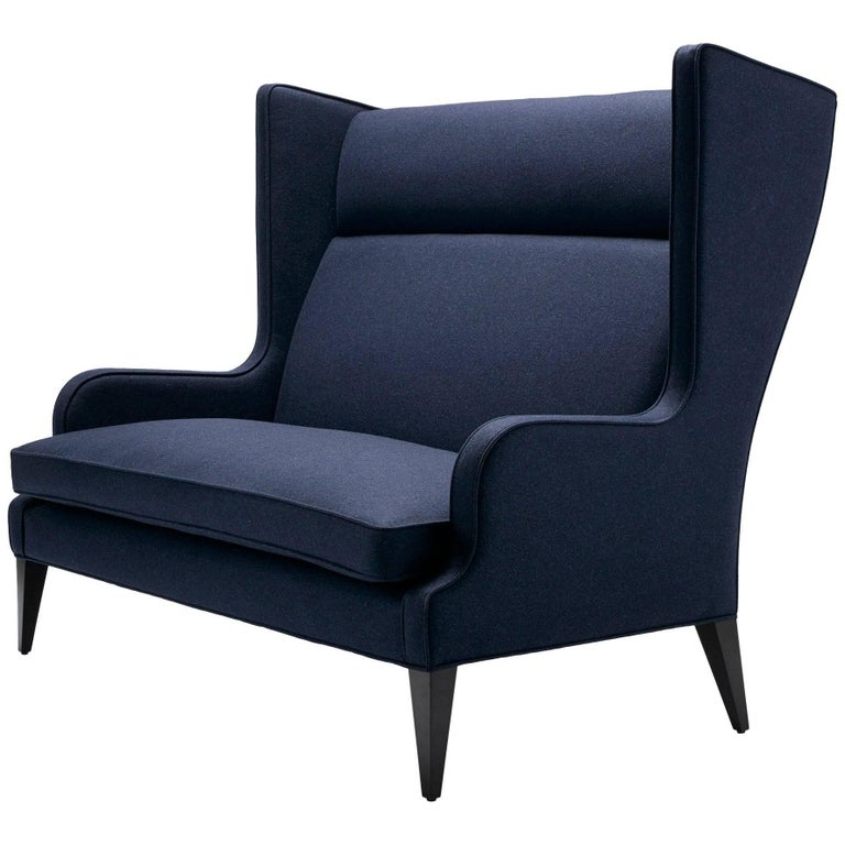 Contemporary Alae Wing Sofa in Moon's Melton Navy Wool with Black Walnut Legs