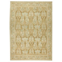Contemporary Alhambra Design Beige and Blue Handwoven Wool Rug