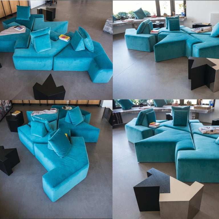Contemporary All You Can Seat Modular Lounge or Sofa in Turquiose Upholstery In New Condition For Sale In Milan, Lombrady