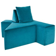 Contemporary All You Can Seat Modular Lounge or Sofa in Turquiose Upholstery