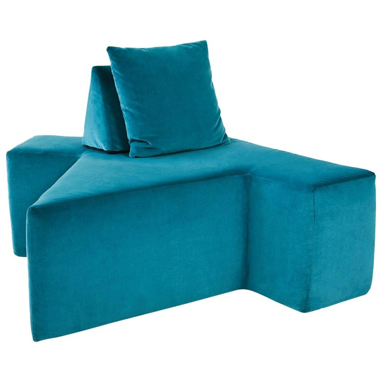 Contemporary All You Can Seat Modular Lounge or Sofa in Turquiose Upholstery For Sale