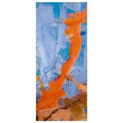 Contemporary Aluminum Blue and Orange Abstract Artwork Spanish Dario Urzay