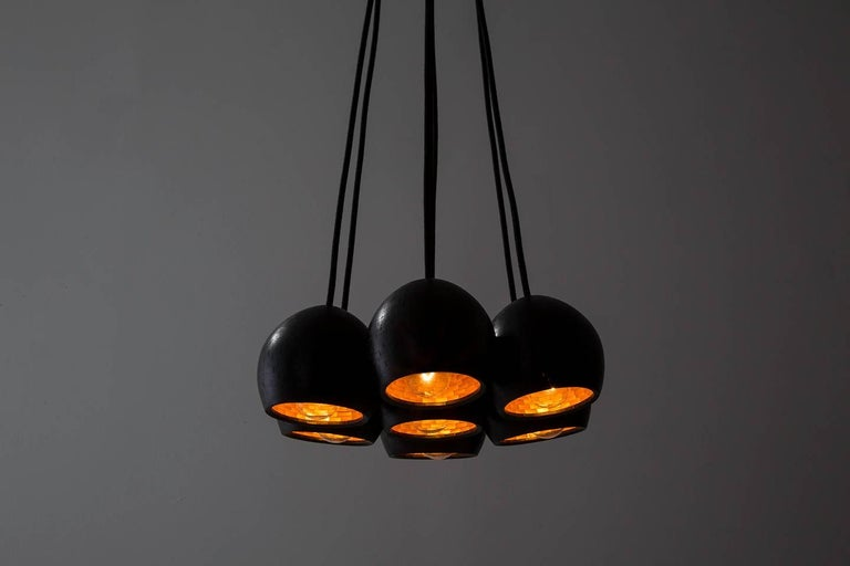 Modern STACKED Small Ostrich Clustered Pendant Lights by Richard Haining, Custom For Sale