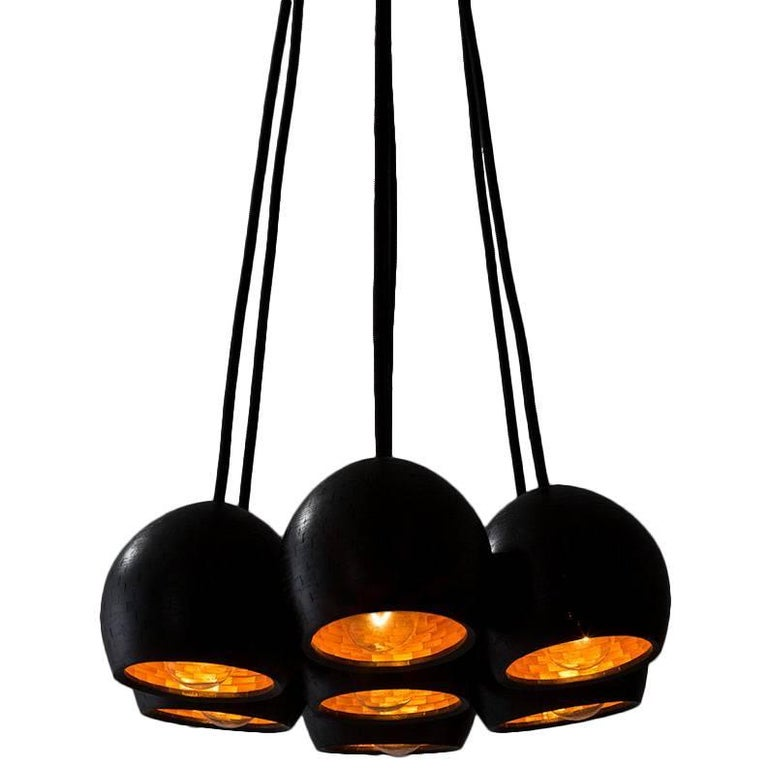 STACKED Small Ostrich Clustered Pendant Lights by Richard Haining, Custom For Sale