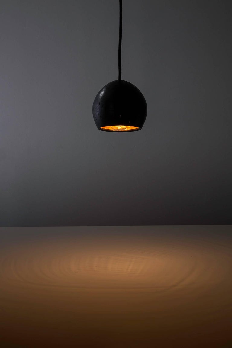 Modern STACKED Small Ostrich Pendant Light by Richard Haining, Ebonized Ash, Custom For Sale