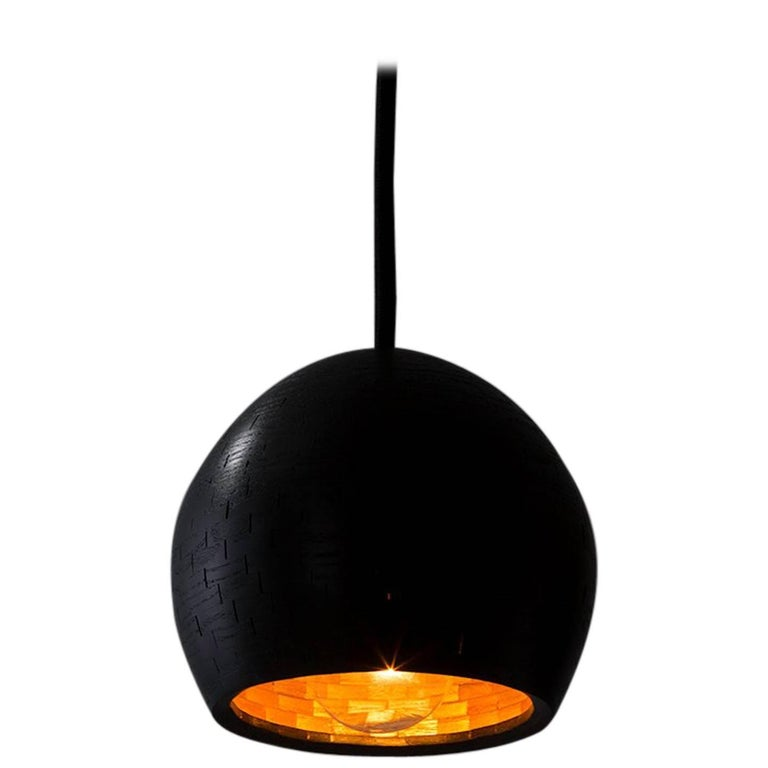 STACKED Small Ostrich Pendant Light by Richard Haining, Ebonized Ash, Custom For Sale