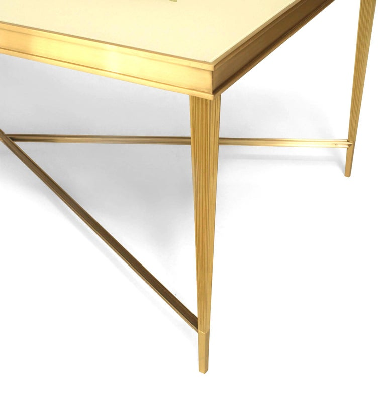 Louis XVI Contemporary American Églomisé and Bronze Coffee Table, by Carole Gratale For Sale
