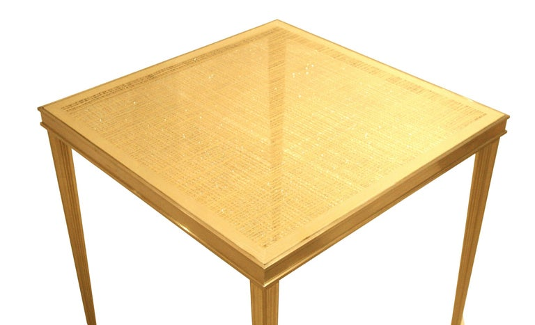 Louis XVI Contemporary American Gilt Eglomise End Table by Carole Gratale For Sale