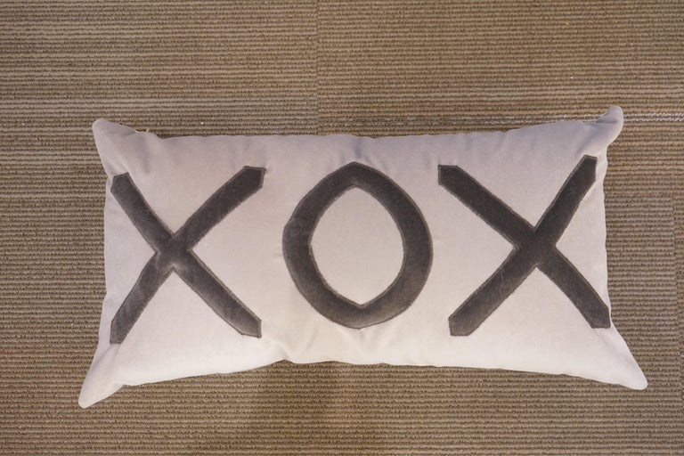 North American Contemporary American Grey Velvet XOX Pillow For Sale