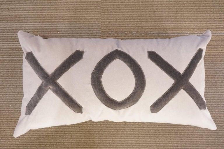Contemporary American Grey Velvet XOX Pillow For Sale 1