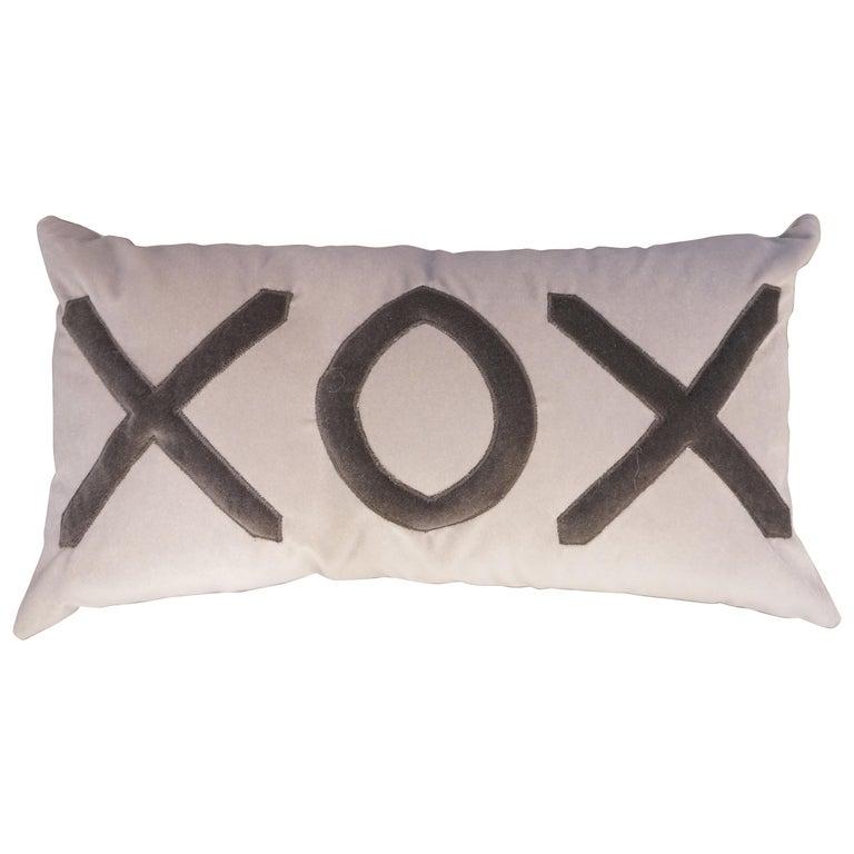 Contemporary American Grey Velvet XOX Pillow For Sale