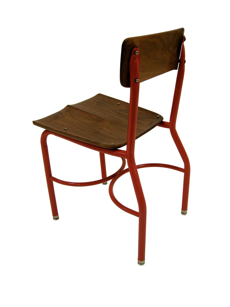 Carved Contemporary American School House Side Chair, Walnut, Powder Coated, in Stock For Sale