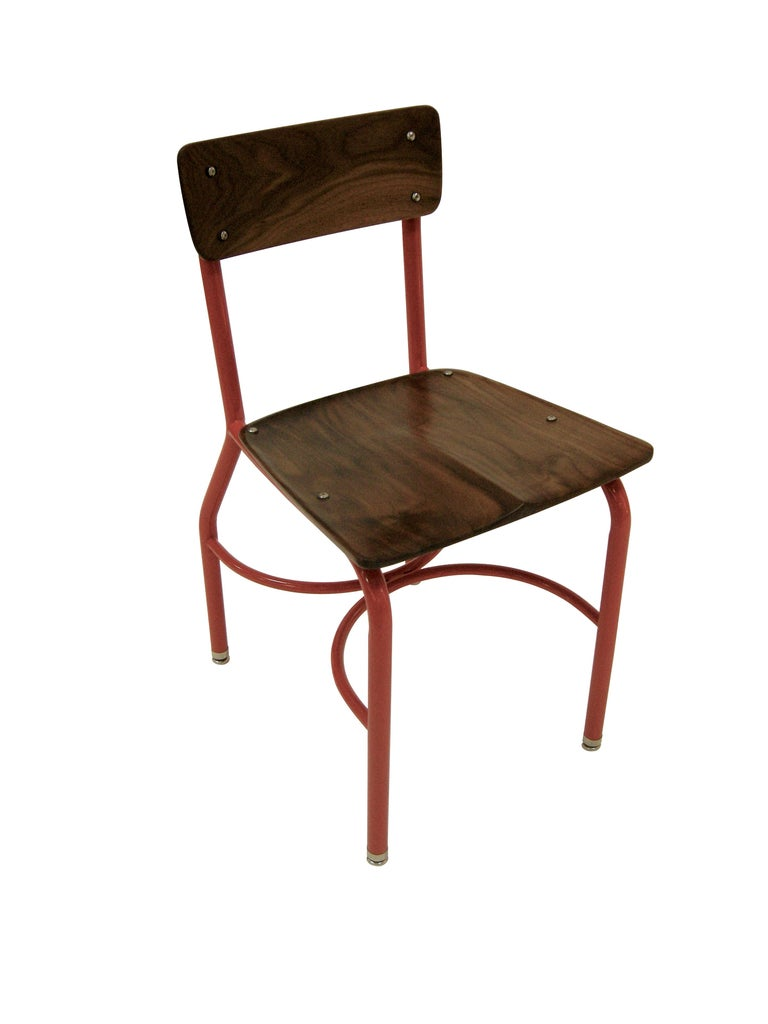 Modern Contemporary American School House Side Chair, Walnut, Powder Coated, in Stock For Sale