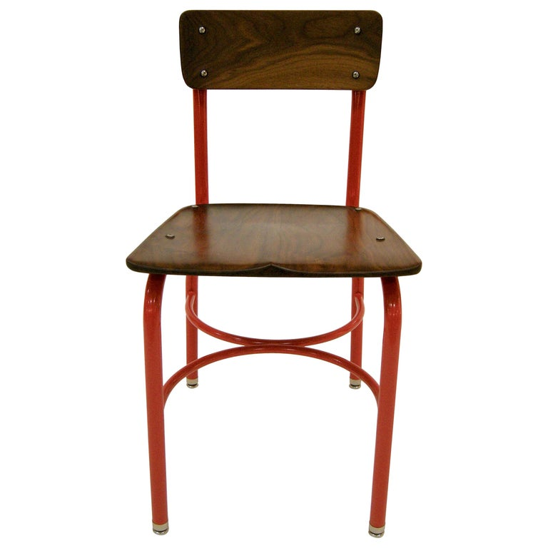 Contemporary American School House Side Chair, Walnut, Powder Coated, in Stock For Sale