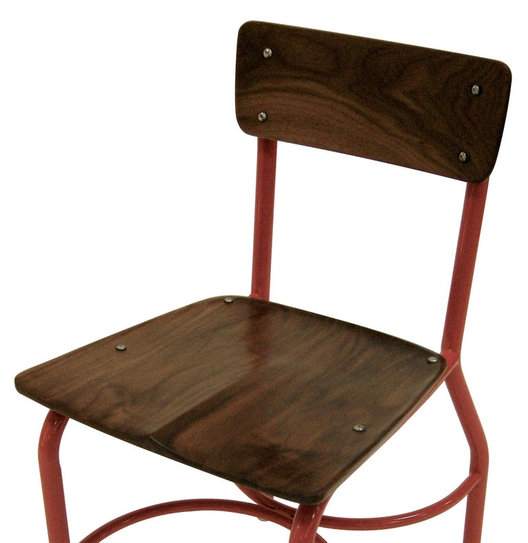 Contemporary American School House Side Chair, Walnut, Powder Coated, in Stock In Excellent Condition For Sale In Brooklyn, NY